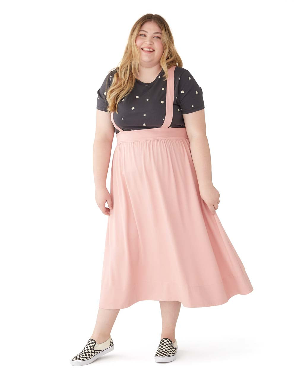 This Pinafore Skirt comes in pink.