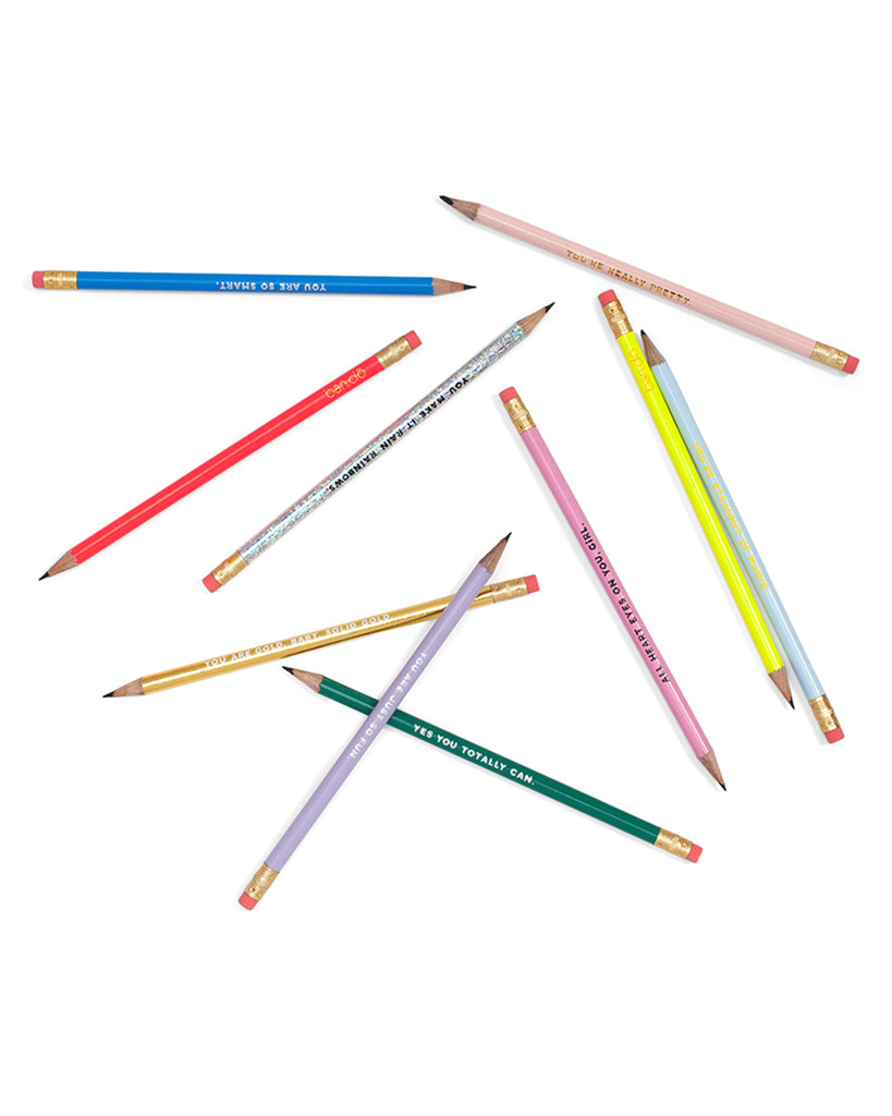 10 pencils, each with a different compliment and color.