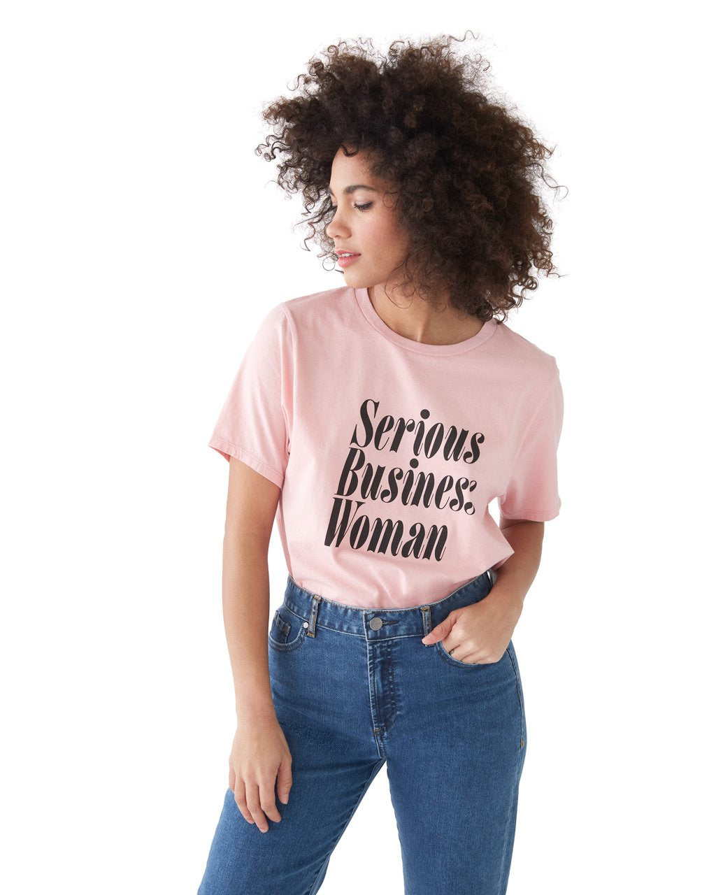 This tee comes in pink, with 'Serious Business Woman' printed in black across the front.