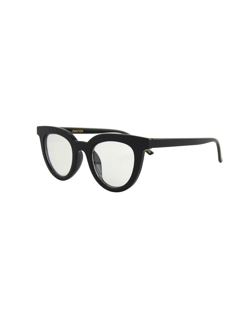 side view of black blue light glasses with a round cat eye like frame