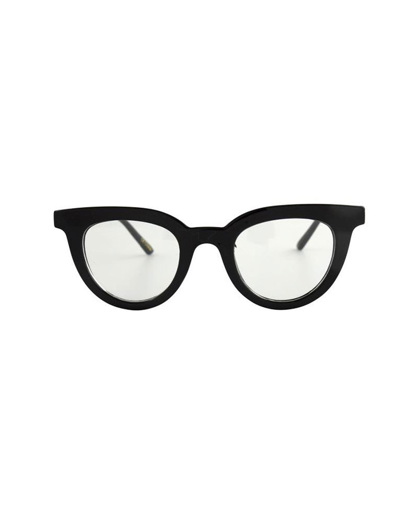 black blue light glasses with a round cat eye like frame