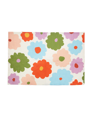 white kitchen towel with colorful blooms