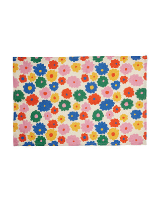 white kitchen towel with multi colored flowers