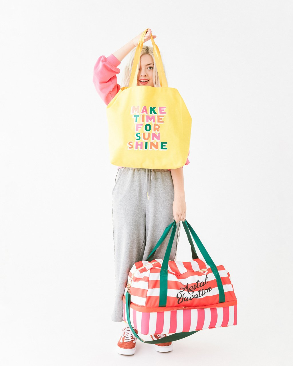 Make Time for Sunshine tote with nylon webbing straps