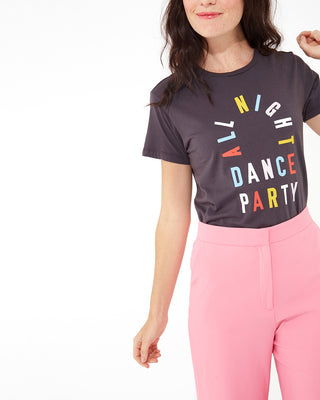 woman in pink pants wearing all night dance party tee