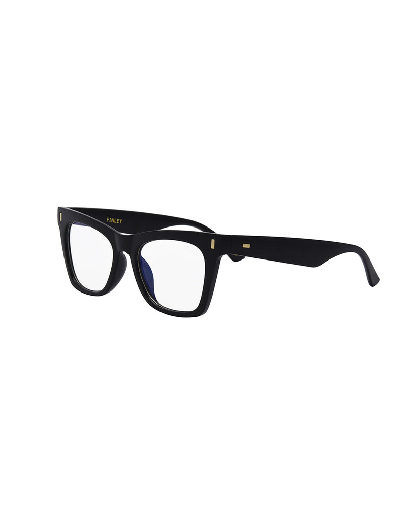 side view of black blue light glasses with a blue inner frame