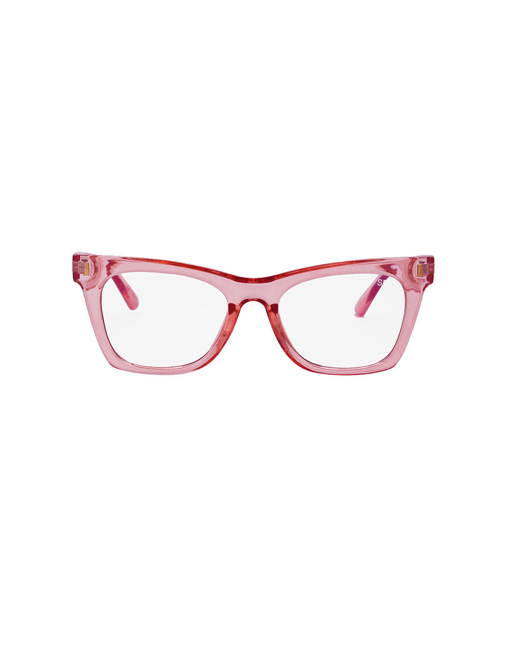 semi-transparent pink blue light glasses with cat eye like frame