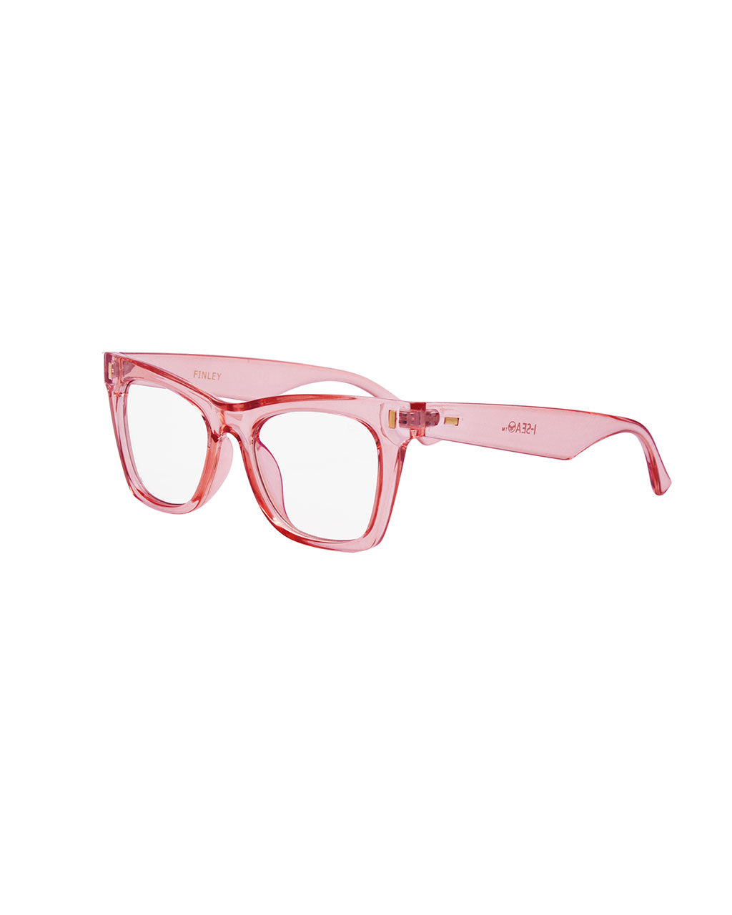 side view of pink blue light glasses with a cat eye like frame