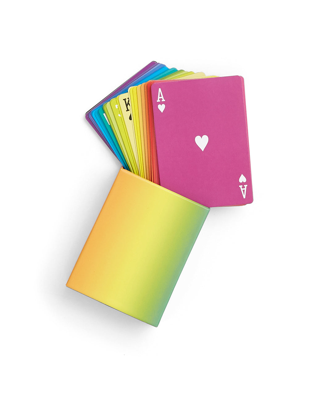 multi colored playing cards and box packaging