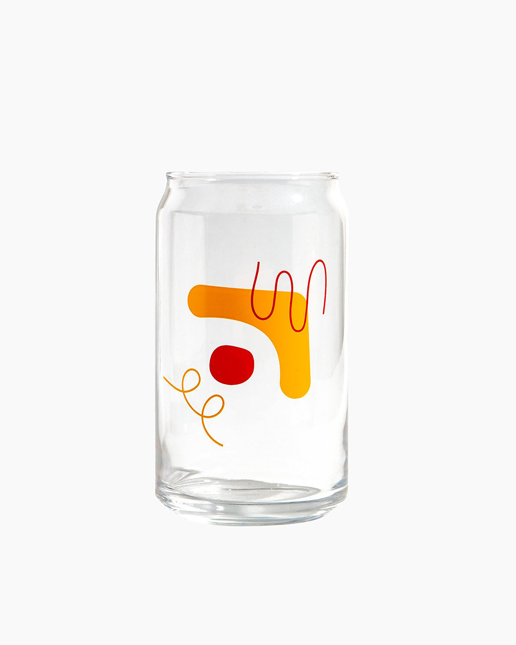 glass with yellow and red design