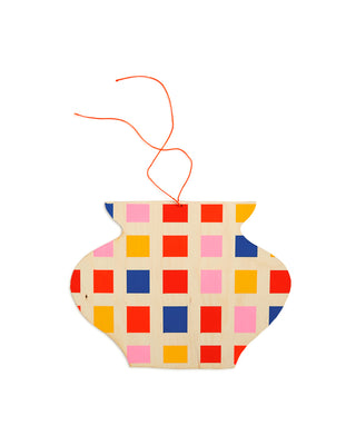 multi colored checkerboard vase wall charm