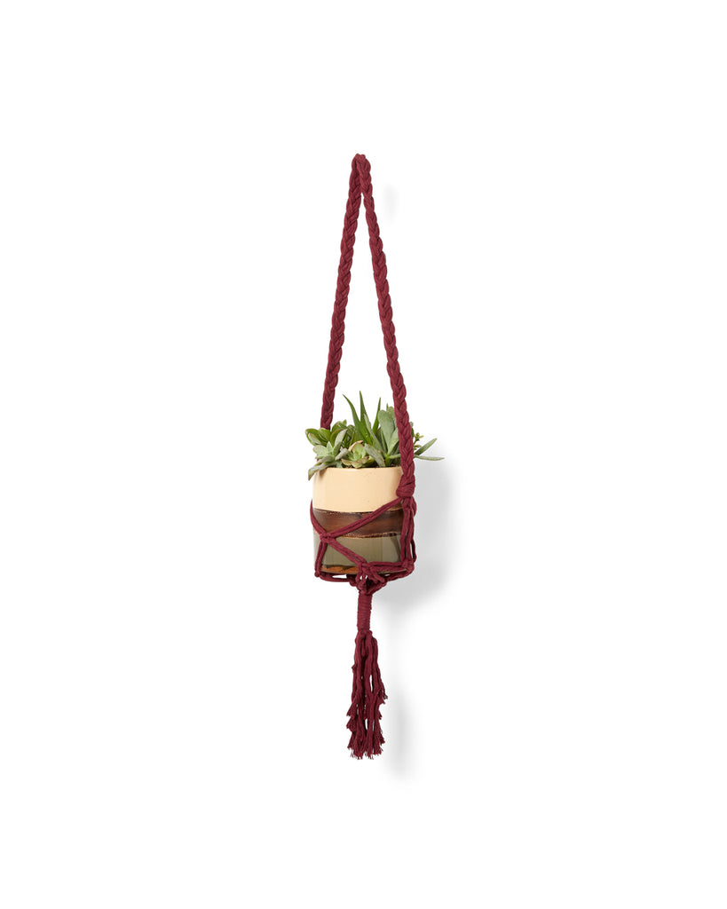 burgundy yarn tote shown as a plant hanger