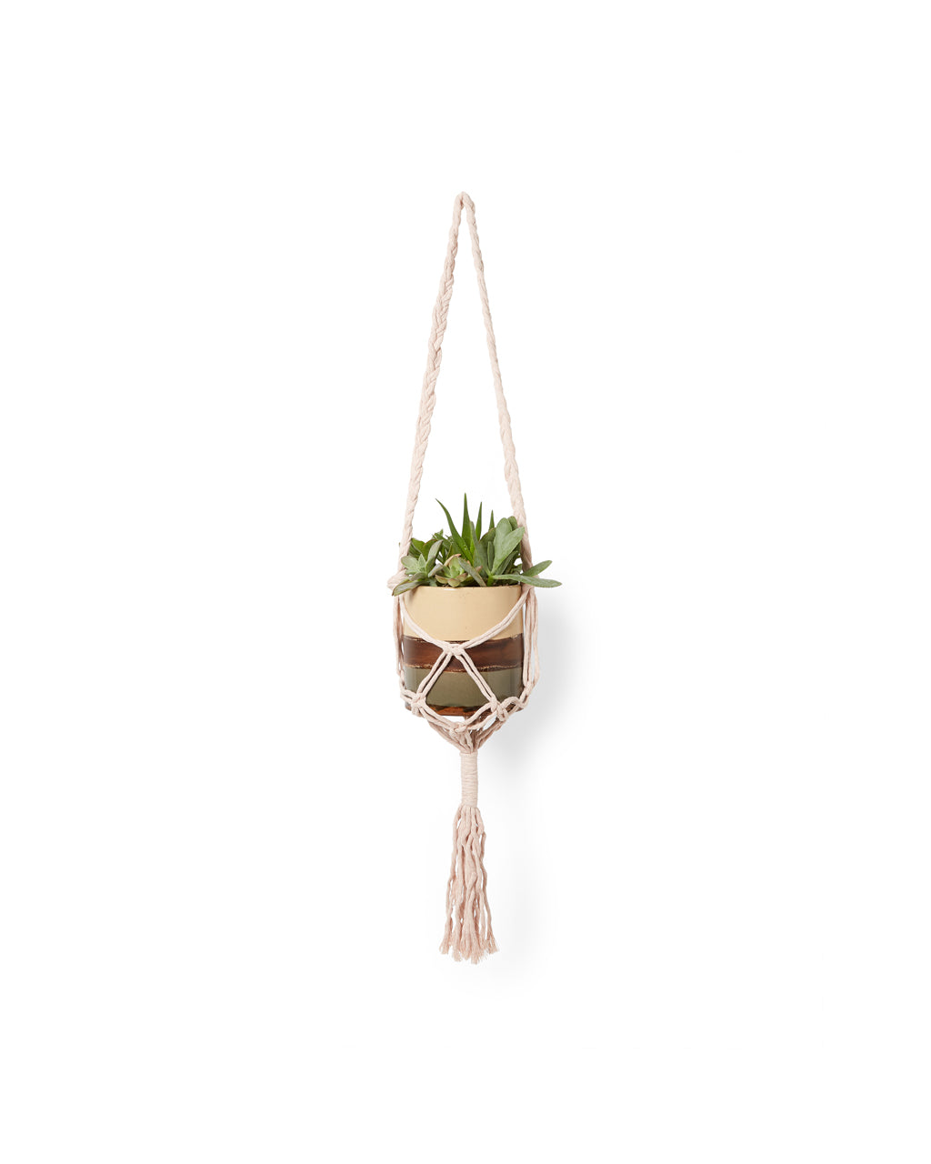 light pink yarn tote shown as plant hanger