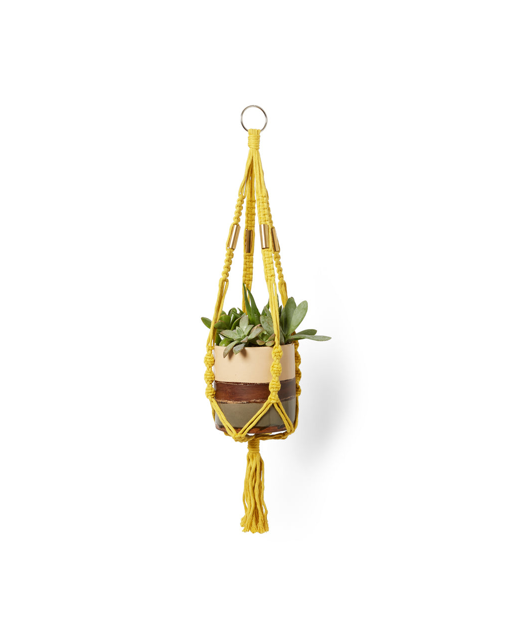 yellow and copper yarn plant hanger