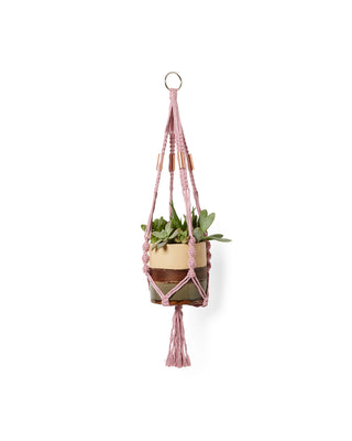 primrose colored yarn plant holder