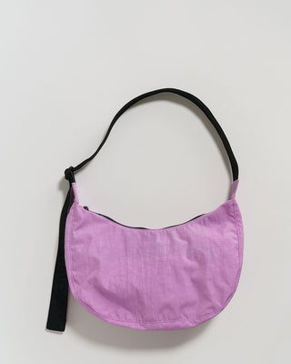 peony colored crescent shaped bag