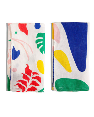 linen tea towels set of 2 with abstract designs