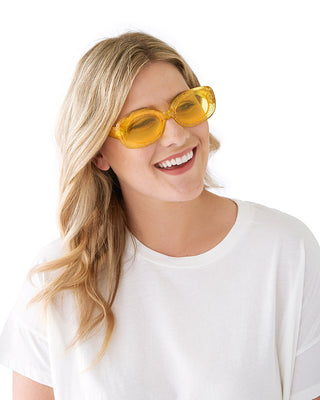 glitter rectangle sunglasses - yellow