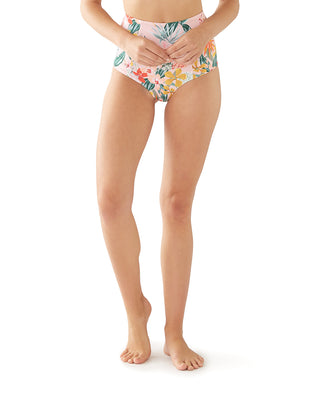 model shown wearing paradiso pattern high waisted bikini bottoms
