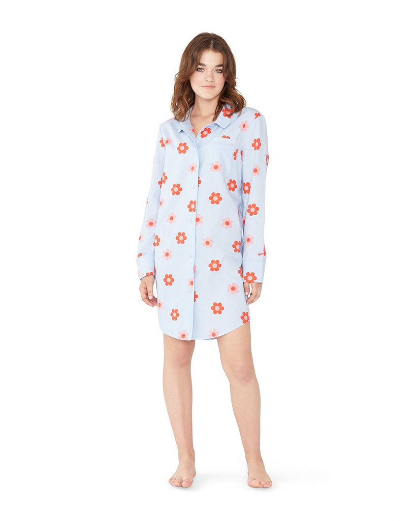This Retro Daisy Sleep Dress comes in light blue with a red daisy pattern throughout.