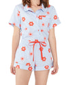 This Retro Daisy Sleep Shorts come in light blue with a red daisy pattern throughout.