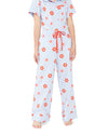 This Retro Daisy Sleep Pant comes in light blue with a red daisy pattern throughout.