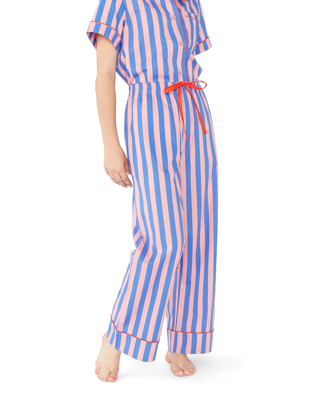 These sleep pants come in indigo and pink vertical stripes.