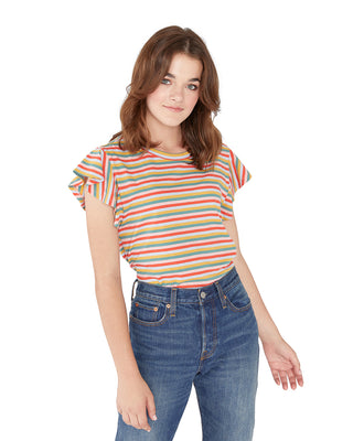 This tee comes in a colorful rainbow-striped design.
