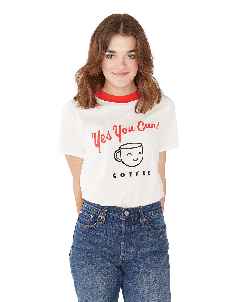 This tee comes in white, red ringer collar detail and 'Yes You Can' printed on the front.