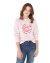 This sweatshirt comes in light pink, with 'Leisure Queen' printed in pink on the front.