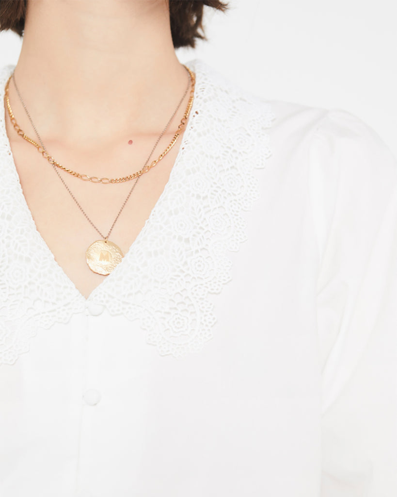 closeup of lace collar on white blouse