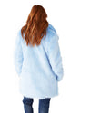 light blue furry coat