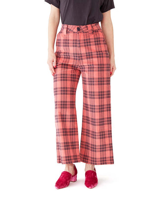 check cord wide leg trousers