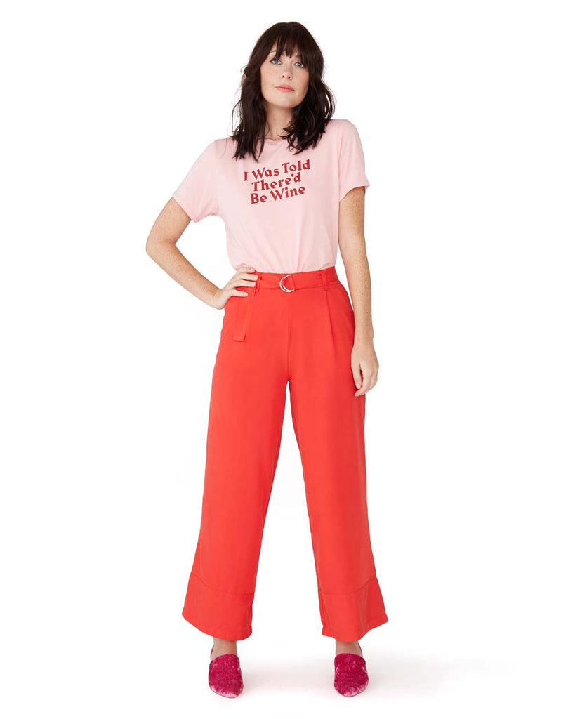 red silk pants