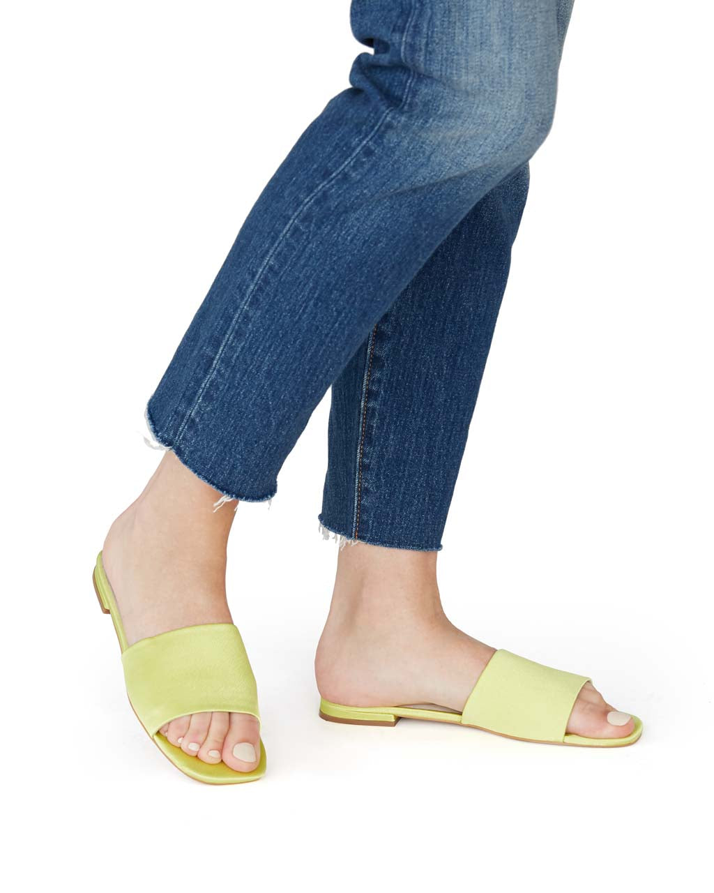 neon yellow wide strap sandals shown on model