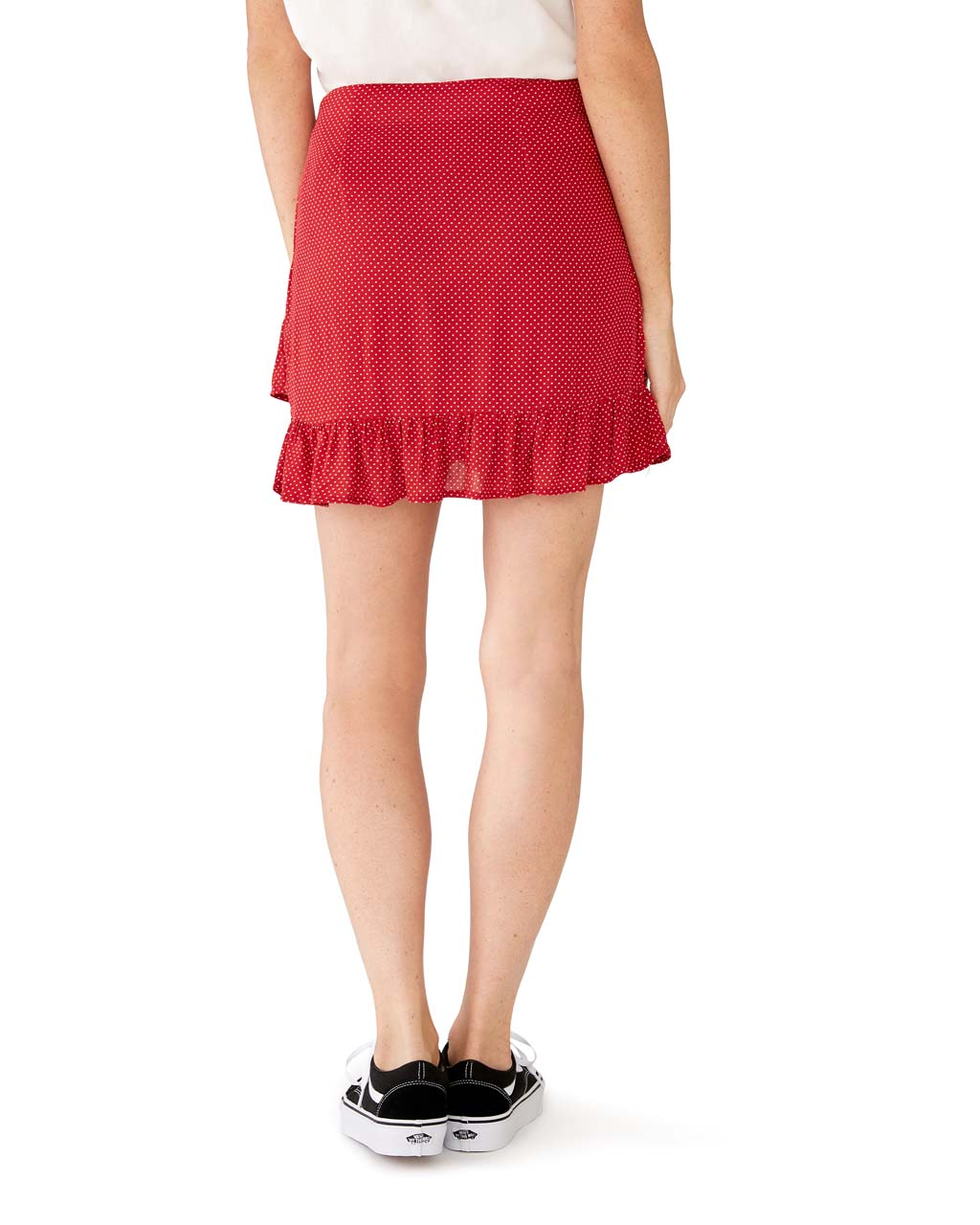 Back view of red skirt with small white dots and ruffled hem