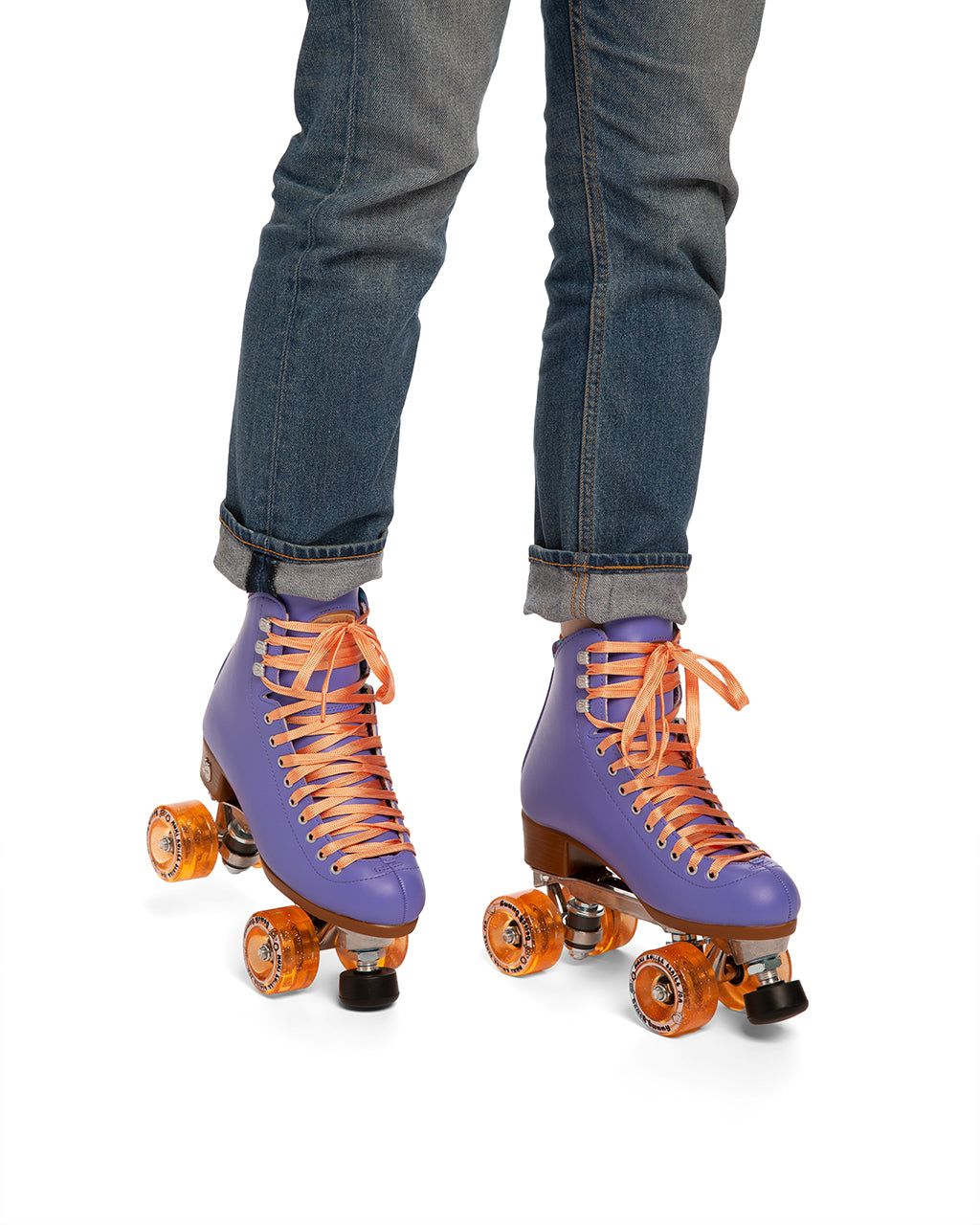 These periwinkle-colored roller-skates feature peach laces and sparkly peach wheels.