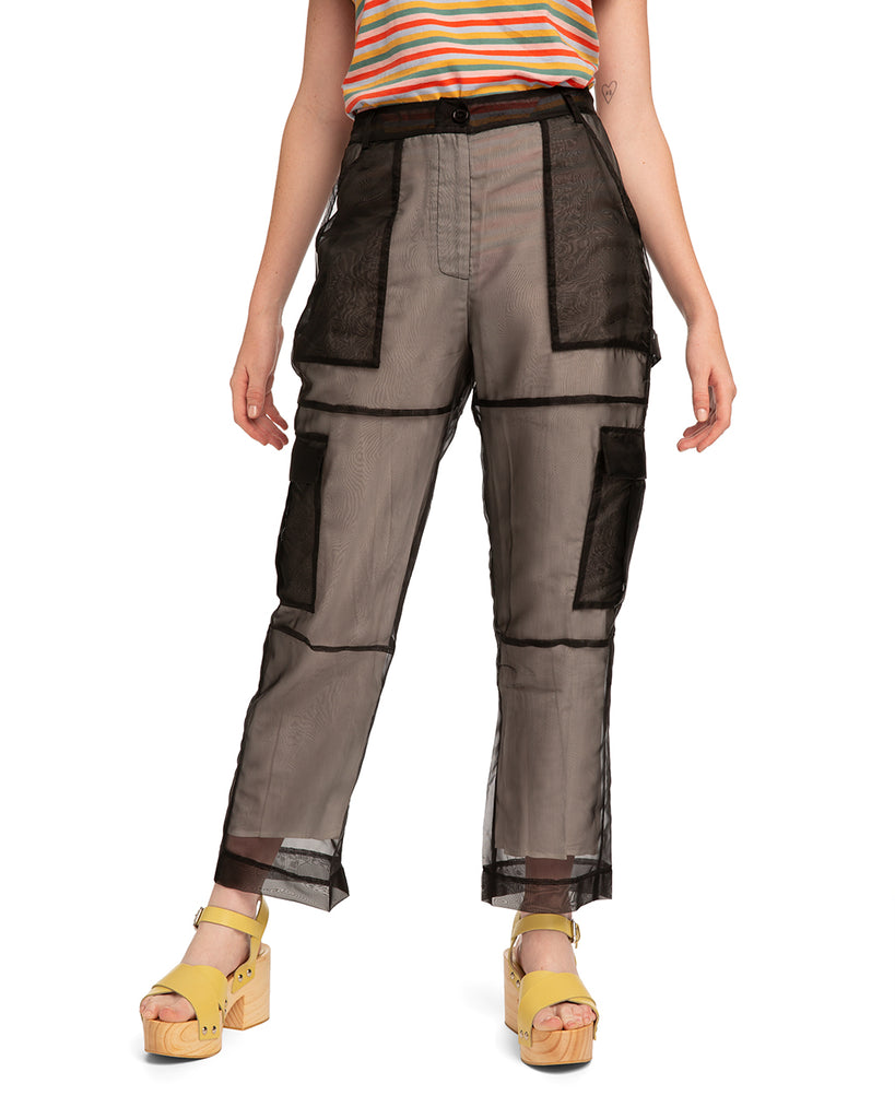 Pants with black organza overlay with cargo pockets