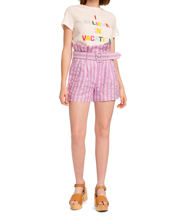 Lilac Linen Stripe Shorts