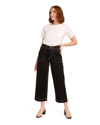 Black high rise, wide leg trousers with white contrast stitching.