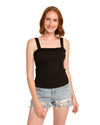 Black Frilled Tank Top