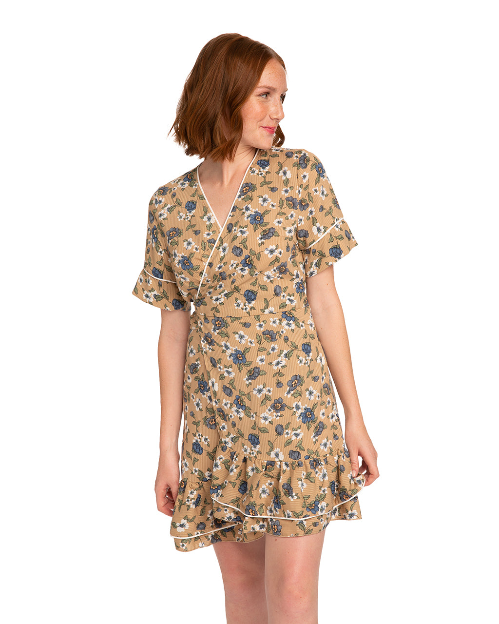 mini wrap floral dress shown on red headed model