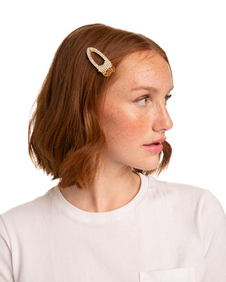 red headed model shown wearing rhinestone hair clip