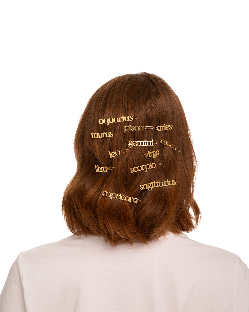 back of model with brown hair, wearing zodiac barrettes in her hair