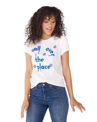This white t-shirt has the words 'All Over The Place' printed in blue across the front.