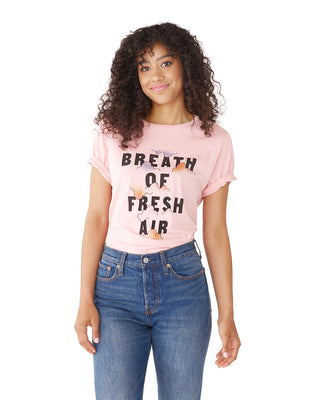 This tee comes in light pink, with a 'Breath of Fresh Air' design by Maddy Nye printed on the front.