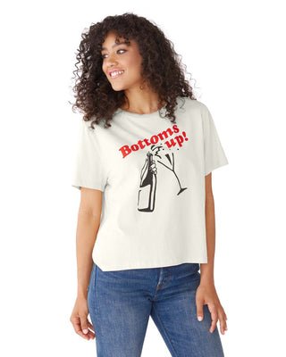 This 100% cotton t-shirt comes in white, with 'Bottoms Up' printed in red on the front.