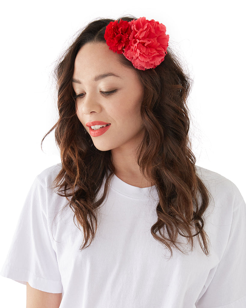Mini Pom Pom Flower - Red