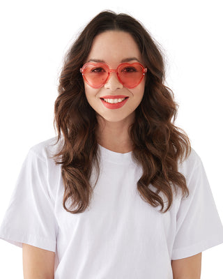 translucent pink heart sunglasses