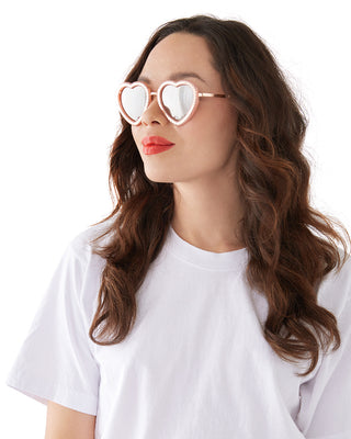 rose gold scalloped heart sunglasses